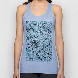"""The Face"" - inspired by Keith Haring v. teal Unisex Tank Top"