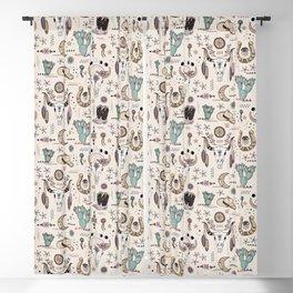 Boho Tribal Cowgirl Ephemera - cream Blackout Curtain