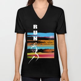Woman runner in black Unisex V-Neck