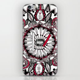 TOP Red and Black Zoomed in Mandala iPhone Skin