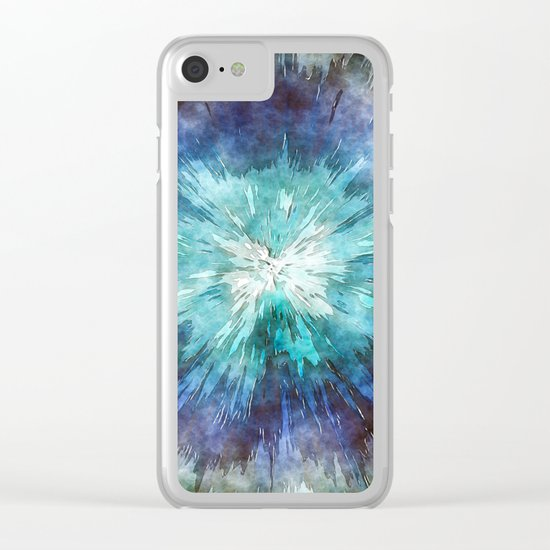 Hues of Blue Tie Dye Clear iPhone Case