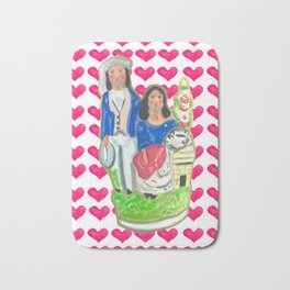 Staffordshire Couple with Hearts Bath Mat