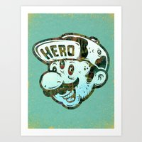 hero Art Prints featuring Hero by Beery Method