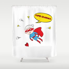 Flying Super Grandma Shower Curtain