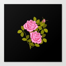 Painted Pink Roses Canvas Print