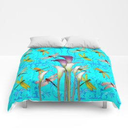 PURPLE CALLA LILIES IN  DRAGONFLY WORLD  ART Comforters