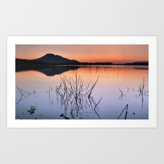 Sunset on the calm lake Art Print