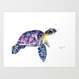 Sea Turtle, purple baby turtle illustration design Art Print