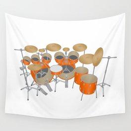 Orange Drum Kit Wall Tapestry