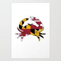 Maryland Crab Flag Art Print