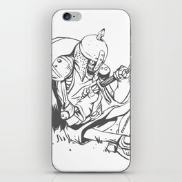 Illustration of a knight  wounded during a medieval battle iPhone Skin