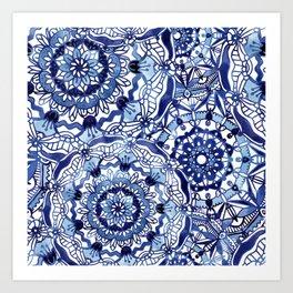 Delft Blue Mandalas Art Print