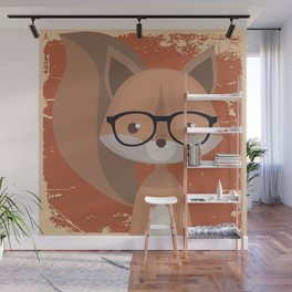 Hipster Squirrel Wall Mural