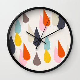 Raindrops on Beige Wall Clock