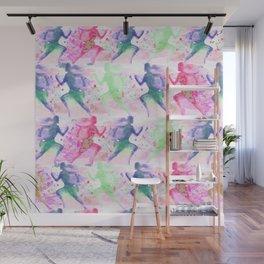 Watercolor women runner pattern Wall Mural