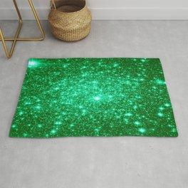 Emerald Green Glitter Stars Rug