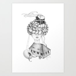 House on Wheels - Graphite Drawing Art Print