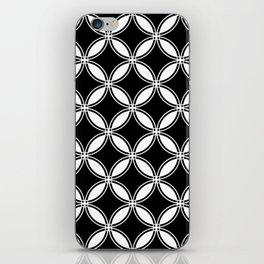 Large Black Geometric Circles Interlocking on White Background iPhone Skin