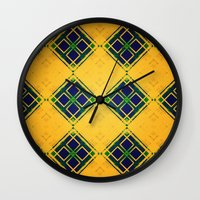 yellow pattern Wall Clocks featuring Yellow by Raluca Ag