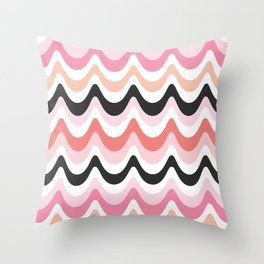 SUMMER WAVES - pink and coral Throw Pillow