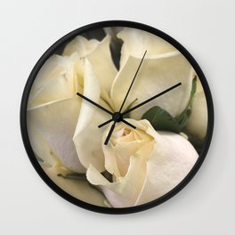 Ivory White Roses in Remembrance of Elizabeth Wall Clock