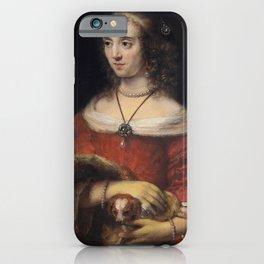 Rembrandt - Portrait of a woman with a lap dog iPhone Case