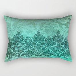 ABERDEEN HEIRLOOM, LACE & DAMASK: ARTISTIC AQUA Rectangular Pillow