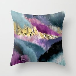 Gemini: a vibrant, colorful abstract piece in gold, purple, blue, black, and white Throw Pillow