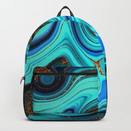 Glamour Marble Agate Lapislazuli With Gold Glitter Veins Backpack