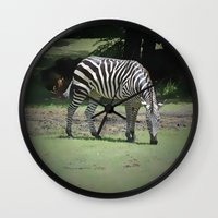 zebra Wall Clocks featuring Zebra by BeachStudio