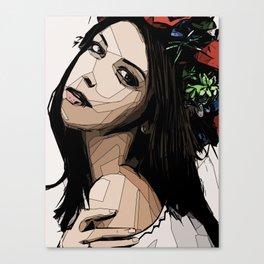 Bohemian girl with flower headband - linedrawing pretty boho Canvas Print