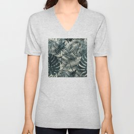 Dark Green Tropical Leaves Unisex V-Neck