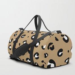 Spotted little leopard minimal animals print panther pattern cinnamon ochre Duffle Bag