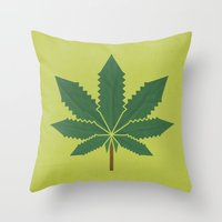 weed Throw Pillows featuring weed by rubenmontero