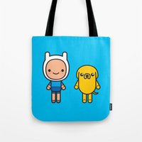finn and jake Tote Bags featuring #48 Jake and Finn by Brownjames Prints