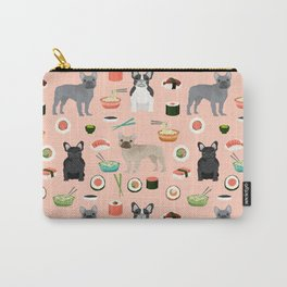 frenchie sushi cute funny dog breed pet pattern french bulldog Carry-All Pouch