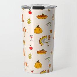 Happy thanksgiving day pattern Travel Mug