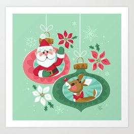 Merry Christmas from Santa & Rudolph Art Print