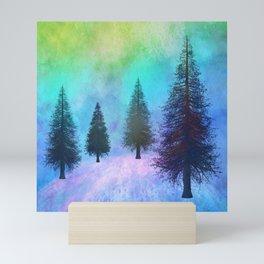 Pine Trees in the Northern Lights Mini Art Print