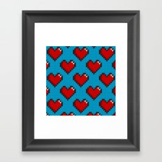 Knitted heart pattern - blue Framed Art Print