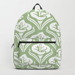Calla Lily Pattern Sage Green Backpack