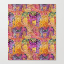 Elephant Pattern colorful orange pink Canvas Print