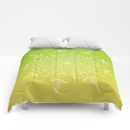 White Vector Mandala on Green/Yellow Gradient Comforters
