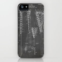 Lacrosse Stick Patent - Lacrosse Player Art - Black Chalkboard iPhone Case