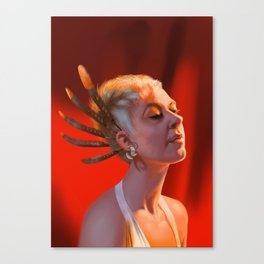 Head study with feathers Canvas Print