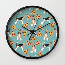 Wire Fox Terrier dog pattern pizza dog lover gifts for dog person dog breeds pet friendly Wall Clock
