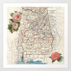 Alabama map with Camelias Art Print