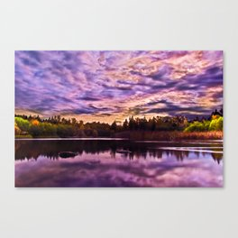Surreal Purple Clouds Reflecting on Calm Water Canvas Print