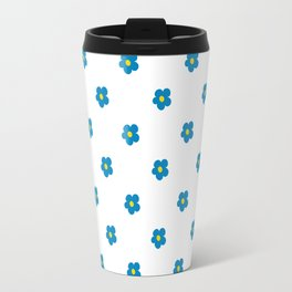 Blue and Yellow Ditsy Pattern Flowers Travel Mug