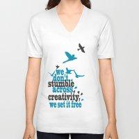 creativity V-neck T-shirts featuring Creativity by Celina Lopez
